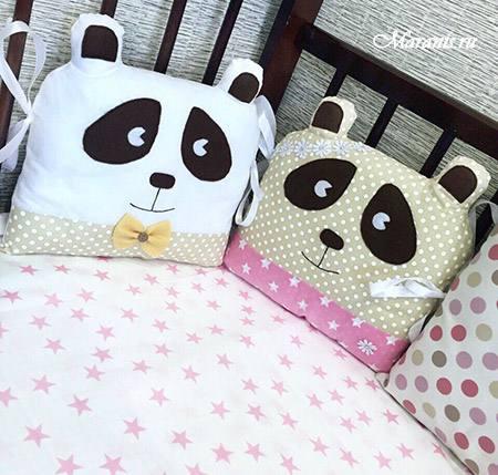 Бортики в кроватку мишки