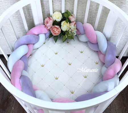 "Бортики в круглую кроватку ""Фламинго"""