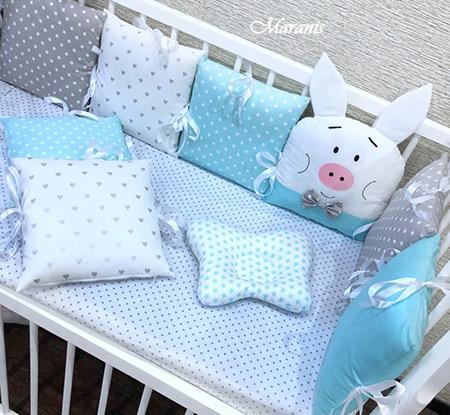 """Бортики для детской кроватки """"Бирюза"""" фото"""