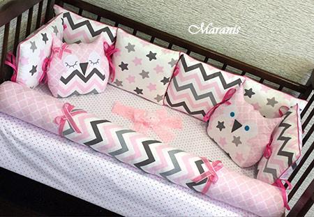 """Бортики в кроватку """"Розовая мечта"""" фото"""