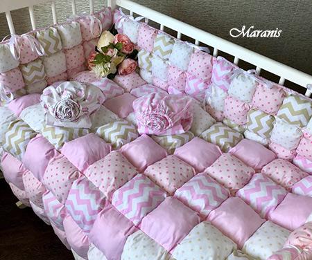 """Комплект в кроватку """"Розовая волна"""" фото"""