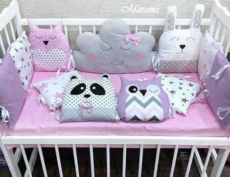 Бортики в кроватку с мишками и совами