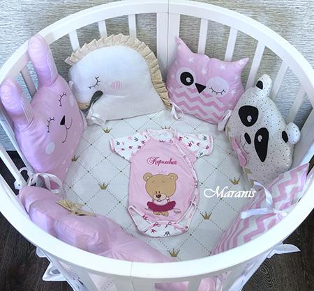 Бортики в круглую кроватку розовые чудеса