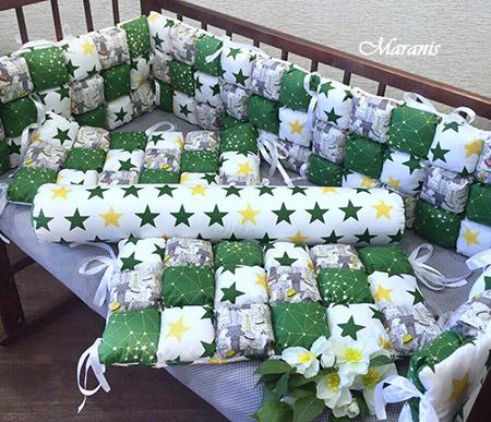 "Бортики бомбон ""Желто-зеленые звезды"" фото"