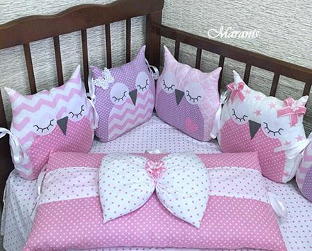 Бортики в кроватку совы