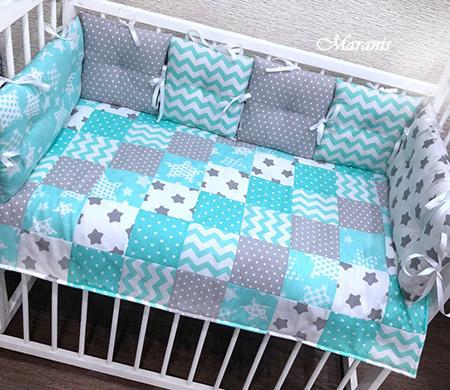 Комплект в детскую кроватку с бортиками Серая мята фото