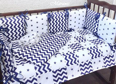 Комплект в детскую кроватку звёздное небо фото